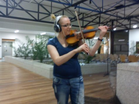 Me playing the beautiful 100 year old violin in DkIT's Winter Garden
