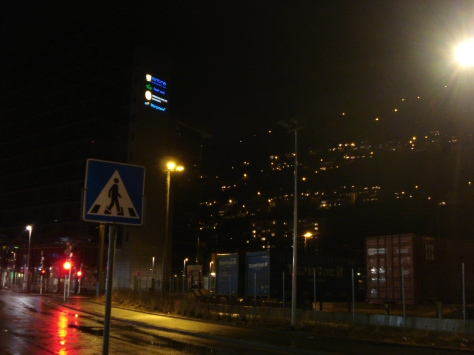 Bergen at night (not a great snap but you can see the city on the mountain... amazing in reality!)