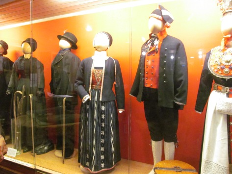 Traditional outfits from different regions of Stord