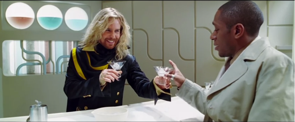 Zaphod Beeblebrox serves up Pan Galactic Gargle Blasters with Ford Prefect int he movie :)