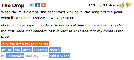 The Drop meaning in terms of music..Urbandictionary.com