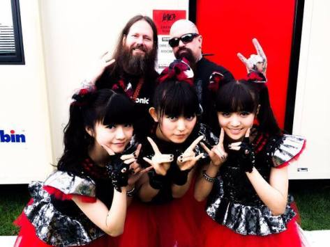@BABYMETAL_JAPAN with @Slayer - One of THE BIG 4 - at Sonisphere!!  The king of thrash metal! (source Babymetal Facebook)