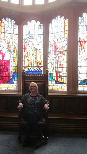 Enjoy Derry! Yours truly sitting in the Mayors Throne in the Guildhall!