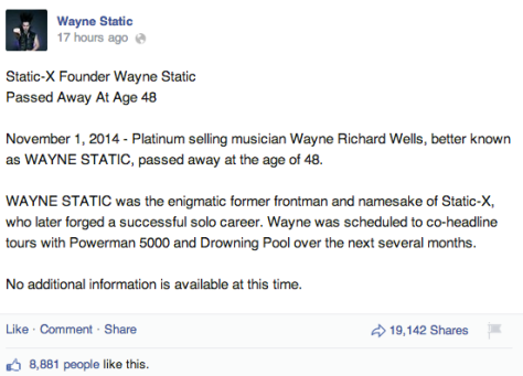 Wayne Static Facebook post